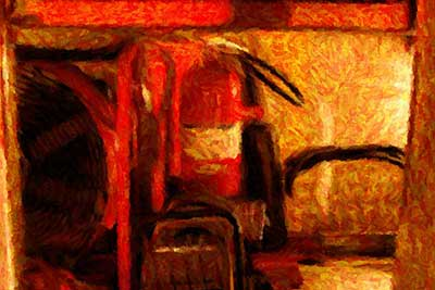 Still life in back of WRCVFD fire truck by the light of a night fire (2007): painting from Mead photo detail